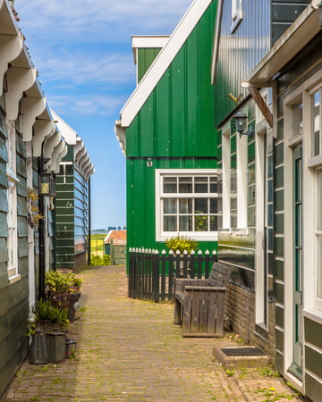 Architectural detail of wooden houses in Dutch Village on the island of Marken in the Ijsselmeer or formerly Zuiderzee, the Netherlands