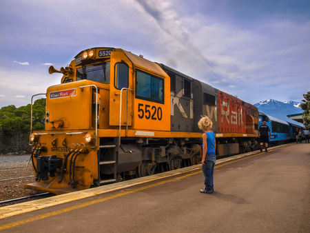 freight train: KAIKOURA, NEW ZEALAND - DECEMBER 10: KiwiRail DXC 5520 Diesel Locomotive passenger train waiting at station in Kaikoura, New Zealand