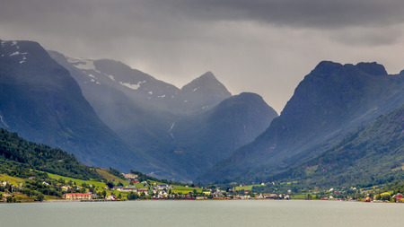 olden: Landscape view of Olden village in Briksdalsbreen Glacial valley in Norwegian Innvikfjord fjord Norway