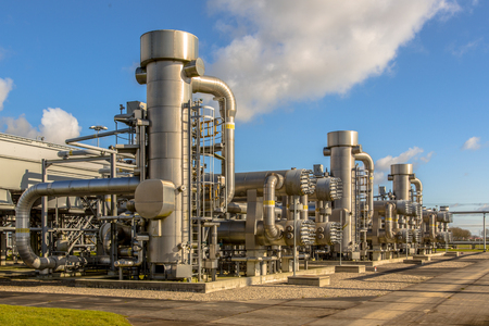 Refinery units on  Natural gas field processing site