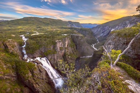 Famous Voringfossen gorge with waterfall near Eidfjord in province of Hordaland Norway