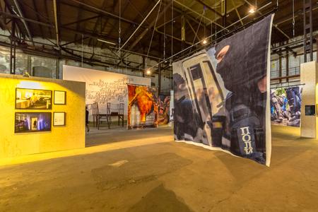 GRONINGEN, THE NETHERLANDS - SEP 27, 2015: Images at Photo exhibition Noorderlicht Data Rush in oude suikerfabriek Groningen.