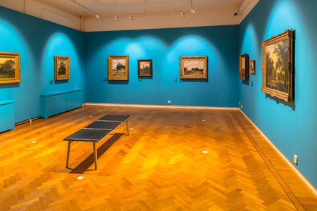 assen: ASSEN, THE NETHERLANDS - SEPTEMBER 21, 2016: Landscape paintings of Dutch masters on display in Drents Museum