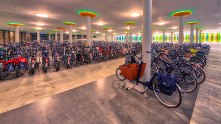 Modern Underground Indoor Bicycle Parking At A Train Station
