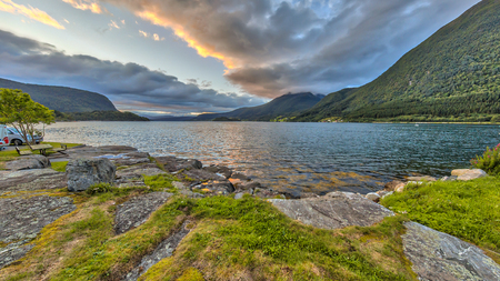 Sunset over norwegian fjord. Specificly Romsdalsfjord in More og Romsdal region, Norway