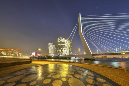 Erasmus bridge at night seen from Maaskade Noordereiland