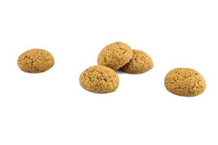 Group of Pepernoten, typical Dutch treat for Sinterklaas on december 5th, on White Background Stock Photo