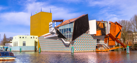 GRONINGEN, NETHERLANDS, MARCH 17, 2017: Groningen Museum exposition building wide angle panorama on sunny spring day in high resolution Editorial