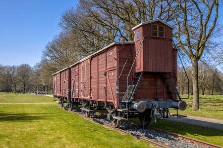 WESTERBORK, NETHERLANDS, APRIL 9 2017. Former nazi deportation train unit in camp Westerbork, now a memorial site and museum. Editorial