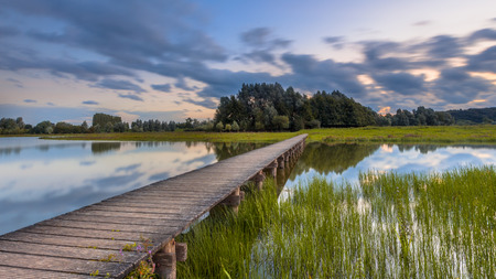 Long exposure image of wooden footbridge as a concept for challenge in nature reserve de Blauwe Kamer near Wageningen, Betuwe, Netherlands Фото со стока - 92233482