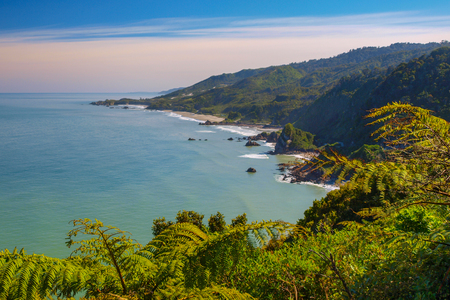 View over Paparoa National Park on the west coast of South Island New Zealand, from state highway 6 Stock Photo