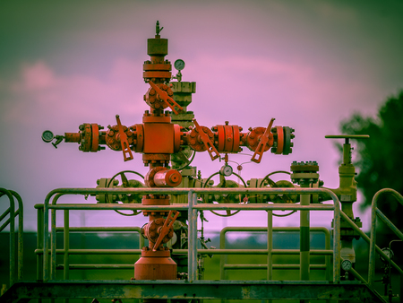 Vintage look Well head of a gas field station in the Netherlands Stock Photo