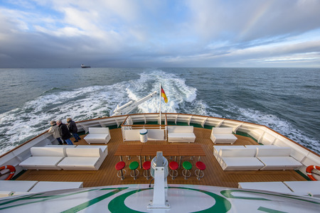 CUXHAVEN, GERMANY- DECEMBER 18, 2016: Backside Stern of a ferry sailing across the North sea from Helgoland island to Cuxhaven