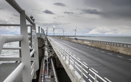 Motorway on Dutch storm protection Delta works Oosterscheldekering in Zeeland, Netherlands