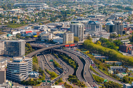 Aerial view of major traffic intersection northern motorway 1 in Auckland city Newton district