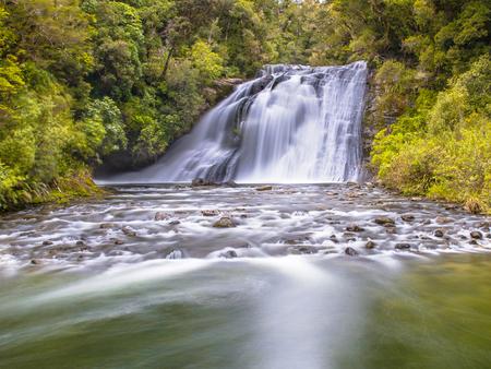 Lang blootstellingsbeeld van een waterval in weelderig regenwoud van Te Urewera National Park in Nieuw-Zeeland