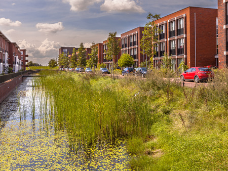Ecological Street with middle class family apartments and natural eco friendly river bank in Wageningen city, Netherlands