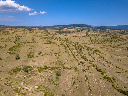 Bird's eye aerial view of calcareous limestone karst landscape of Causse Noir in Cevennes France