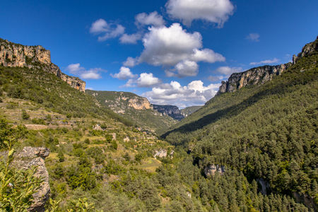 View over green river valley of Tarn near village of Le Rozier in Cevennes Occitanie France Stock Photo