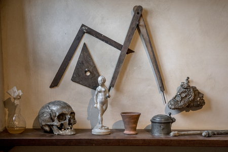 Artist atelier study room artefacts on a shelf used by dutch master painters in the 17th century in Amsterdam