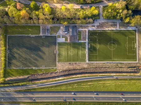 Top down aerial view of amateur soccer field facility in the Netherlands Stockfoto