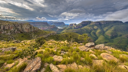 Blyde river Canyon panorama from Lowveld viewpoint over panoramic scenery in Mpumalanga South Africa 免版税图像
