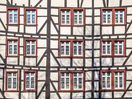 Large Facade of Fachwerk medievel building style in Monschau, Eifel Germany