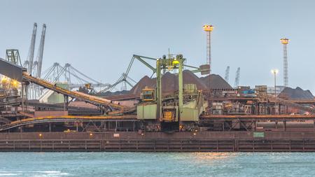 Iron ore buk transshipment facility Rotterdam Europoort, The Netherlands