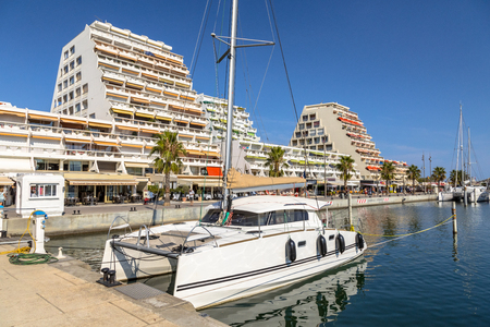 Resorts at the marina with yachts in city of La Grande Motte on Cote D'Azur, Languedoc region, Southern France