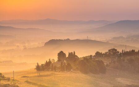 Tuscany Village Landscape near Florence on a Foggy Morning, Italy