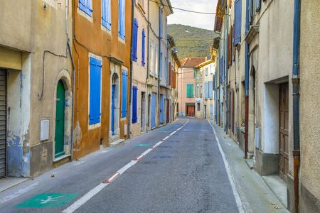 Street in French rural village of Saint Hippolyte du Fort, Southern France Stock Photo