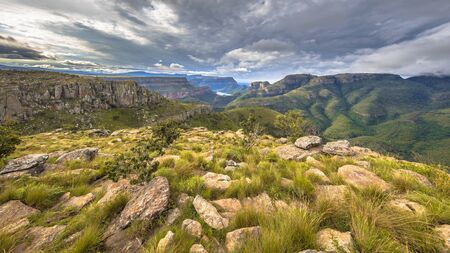 Blyde river Canyon panorama from Lowveld viewpoint over panoramic scenery in Mpumalanga South Africa 版權商用圖片