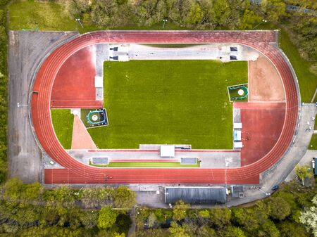 Running athletic competition track complex from above