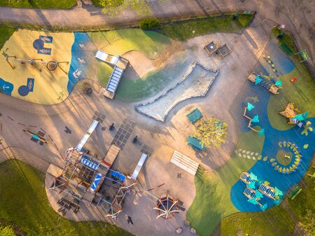 Playground aerial with colotful patterns from above