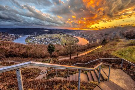 Spectacular sunset over Mosel river valley near Krov, Germany