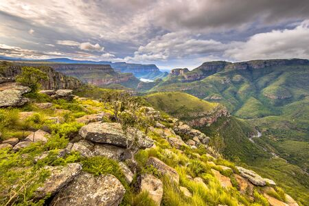Natural vegetation and rocks at viewpoint over panoramic scenery of Blyde river Canyon Mpumalanga South Africa