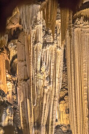Dripstone formation in limestone cave of Grotte des Demoiselles in Languedoc Southern France