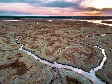 Aerial view of tidal marshland with natural meandering drainage system in Verdronken land van Saeftinghe in Zeeland, Netherlands