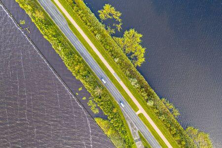 Top down Aerial view of Causeway through Weerribben Wieden national park, Overijssel, Netherlands
