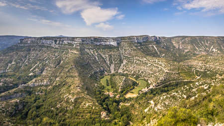 Panorama view of Grand Site of the Circus of Navacelles in Gorges La Vis in Cevennes, Southern France