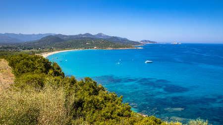 View over Losari beach on North east coast of Corsica Island near Ile Rousse, Calvi, France
