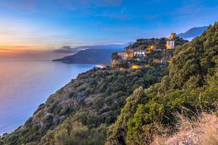 Mountain Village of Nonza with view over the mediteranean sea on Cap corse, Corsica, France