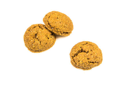 Set of three ginger nuts cookies from above on white background for annual Sinterklaas holiday event in the Netherlands on December 5th