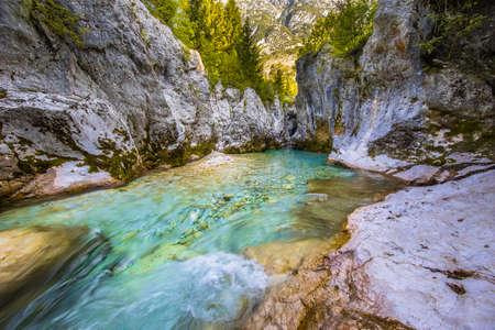 Blue Colored Soca river in Triglav National Park, Julian Alps, Slovenia Europe