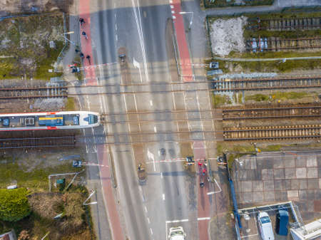 Railroad crossing street aerial in Groningen city, Netherlands 新闻类图片