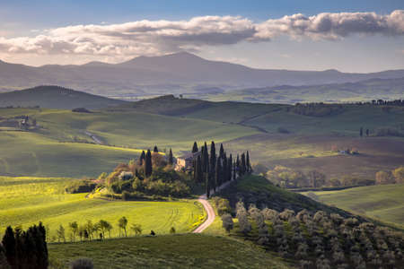 Tuscan countryside near San Quirico d'Orcia on foggy early morning sunrise in Tuscany, Italy, April. Banco de Imagens