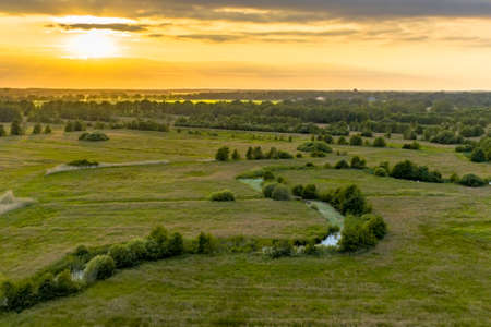 Aerial view of green grassland river valley of Westerstroom creek in Benneveld, Drenthe Province, the Netherlands.