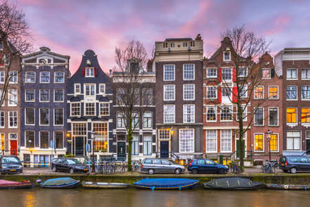 Historical Colorful canal houses on Brouwersgracht in the grachtengordeal Amsterdam