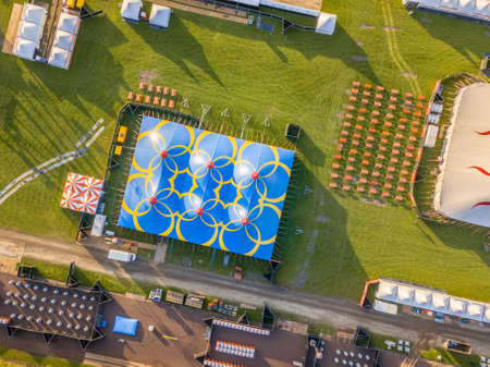 Aerial detail of festival site with toilets, picknick and restaurant area. Crowd management concept.