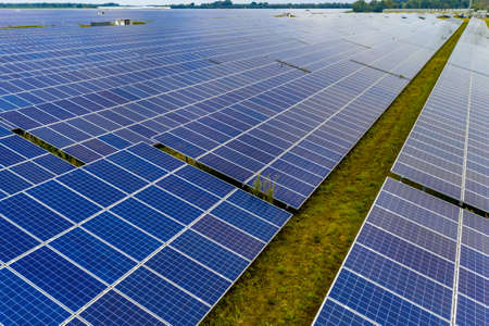Solar farm on dutch countryside in Groningen Province, the Netherlands